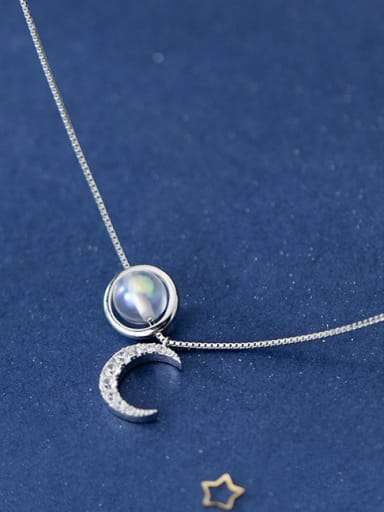 925 Sterling Silver With Platinum Plated Personality Moon Necklaces