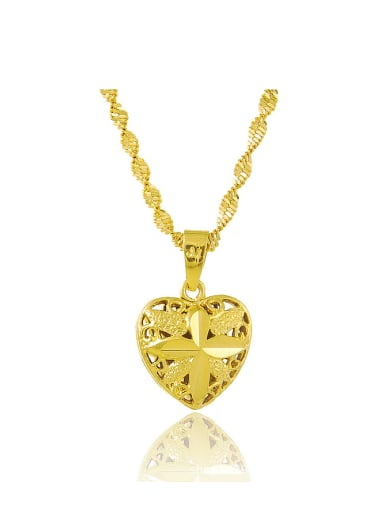 Women Elegant Heart Shaped 24K Gold Plated Necklace