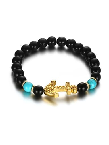 Delicate Gold Plated Anchor Shaped Turquoise Bracelet