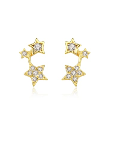 925 Sterling Silver With Gold Plated Simplistic Star Stud Earrings