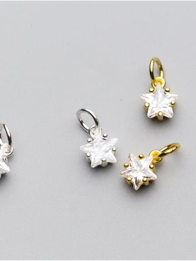925 Sterling Silver With 18k Gold Plated Cute Pentagram Charms