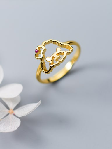 Exquisite Gold Plated Dog Shaped Rhinestone Silver Ring