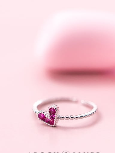 S925 silver ring, female wind fashion, purple diamond, love ring, sweet temperament, open finger index J4451