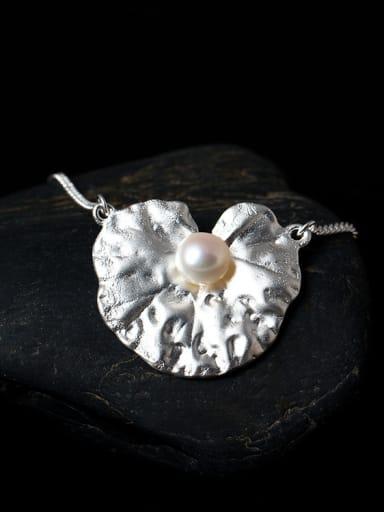 Freshwater Pearl Lotus Leaf-shape Pendant Necklace