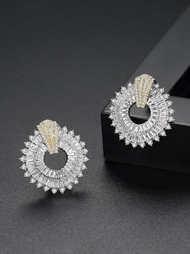 Copper With White Gold Plated Trendy Geometric Party Stud Earrings