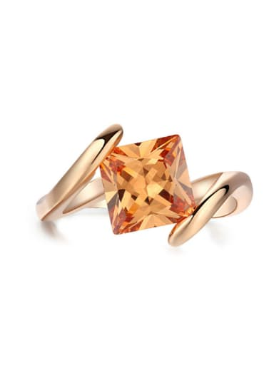 Noble Rose Gold Plated Shining Zircons Ring