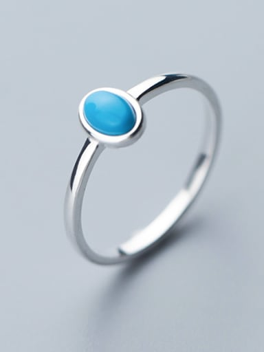 925 Sterling Silver With Turquoise Simplistic Oval free szie  Rings