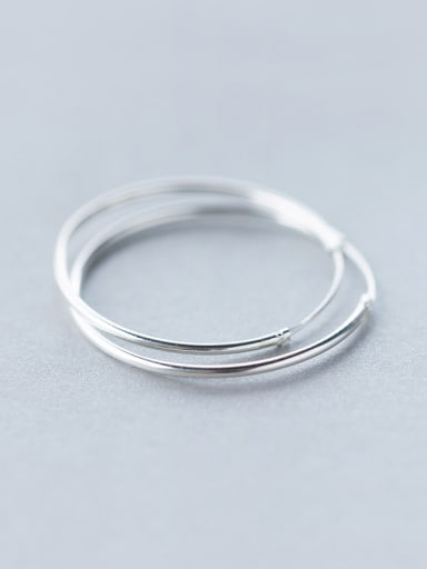 S925 silver smooth circle hoop earring