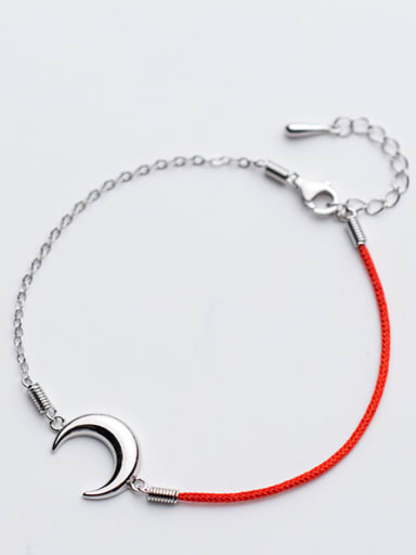 Fresh Moon Shaped Red Artificial Leather S925 Silver Bracelet