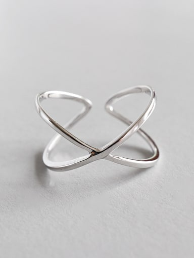 Sterling silver X-shaped cross Glossy three-dimensional free size ring