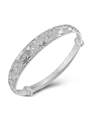990 Silver Star Patterns-etched Polish Adjustable Bangle
