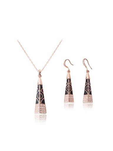 Alloy Rose Gold Plated Fashion Rhinestones Triangle-shaped Two Pieces Jewelry Set