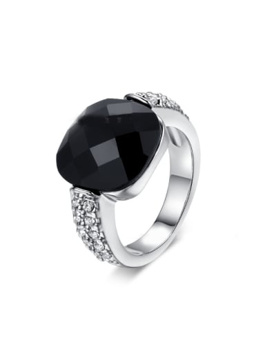 Black Stone Zircons White Gold Plated Copper Ring