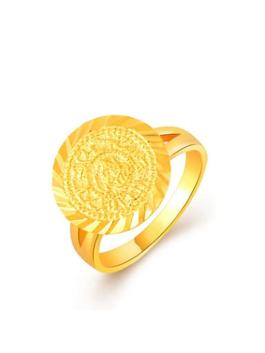 Women Exquisite 24K Gold Plated Round Shaped Wedding Ring