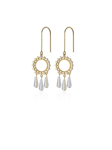 925 Sterling Silver With Gold Plated Bohemia Round Hook Earrings