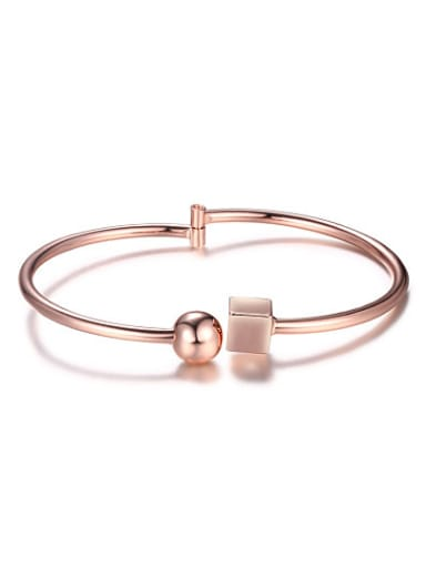 Personality Rose Gold Plated Copper Bead Bangle