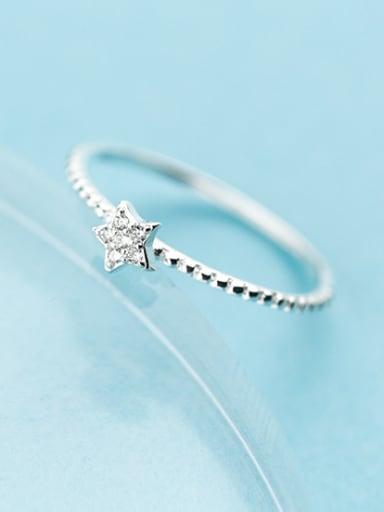 Elegant Star Shaped S925 Silver Rhinestones Ring