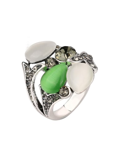 Personalized Opal stones Grey Crystals Alloy Ring