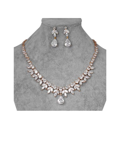 Copper With Cubic Zirconia Luxury Water Drop Earrings And Necklaces 2 Piece Jewelry Set