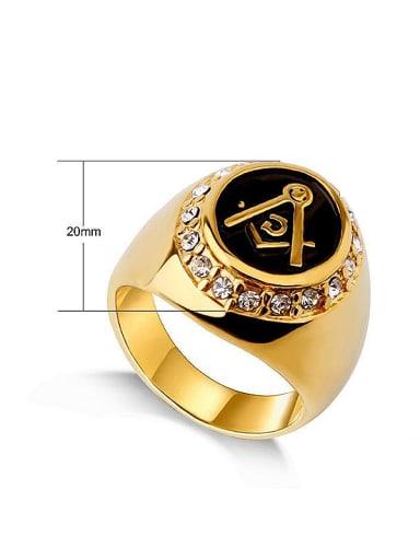 Freemason Logo Rhinestones Signet Ring