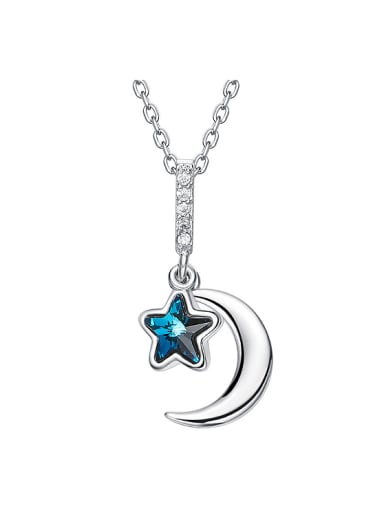 Simple Little Moon Star Swarovski Crystal Copper Necklace