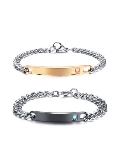 Exquisite Rose Gold Plated Zircon Titanium Couple Bracelet