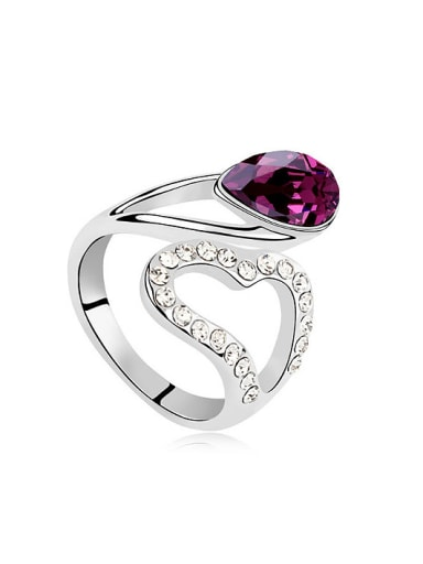 Fashion Cubic Water Drop Swarovski Crystals Alloy Ring