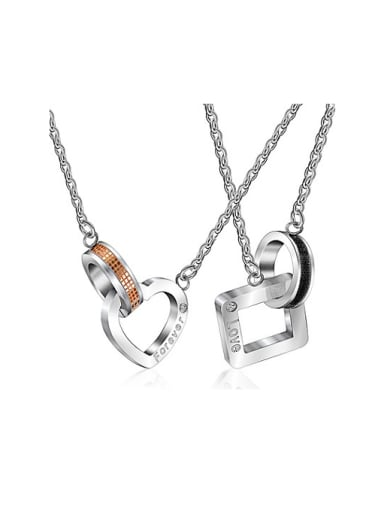 Fashion Heart and Square Lovers Necklace