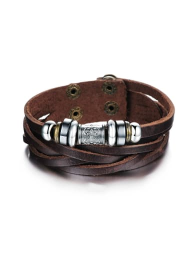 Ethnic style Brown Artificial Leather Bracelet