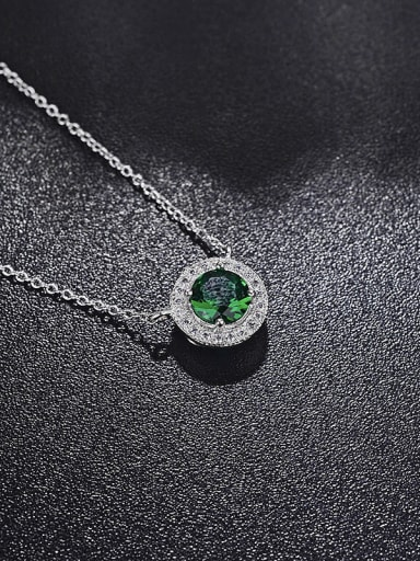 Simple and delicate round Micro-inlay green zircon necklaces