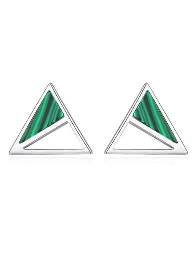 925 Sterling Silver With Turquoise Simplistic Triangle Stud Earrings