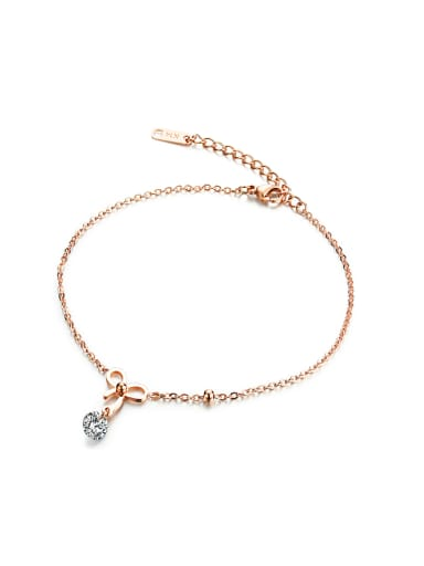 Simple Rose Gold Plated Little Bowknot Titanium Anklet