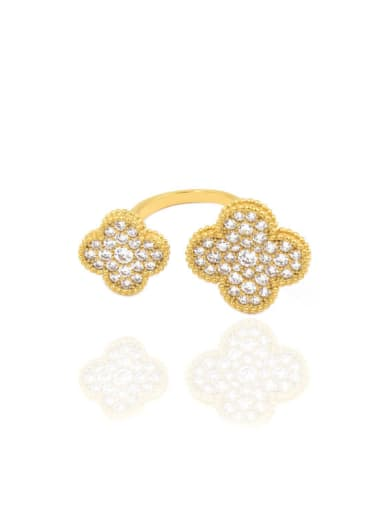 Double Flowers Micro Pave Zircons Opening Ring