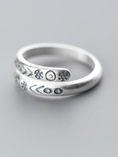 Creative Open Design Note Shaped S999 Silver Ring