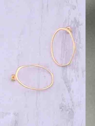 Titanium With Gold Plated Simplistic Hollow  Geometric Round Hoop Earrings