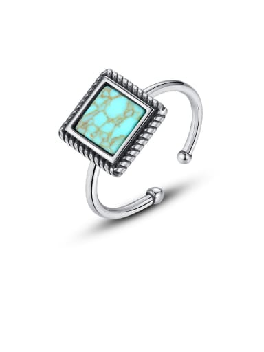 925 Sterling Silver With Platinum Plated Fashion Square Free Size Rings