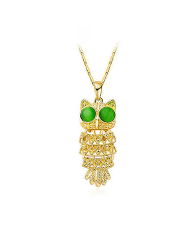 All-match Gold Plated Owl Shaped Opal Necklace
