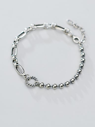 925 Sterling Silver With Antique Silver Plated Vintage Round Bracelets