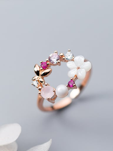 Exquisite Rose Gold Plated Flower Shaped Silver Ring