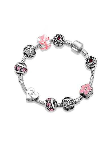Elegant Pink Geometric Shaped Handmade Beads Bracelet