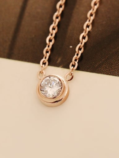 Single Zircon Pendant Simply Necklace