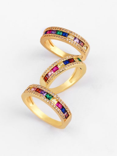Copper With  Cubic Zirconia Trendy Geometric Band Rings