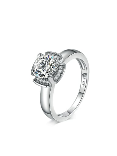 Luxury Fashion Flower Shape Ring with Zircons