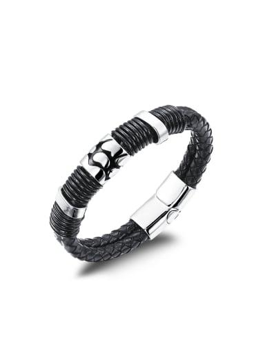 Punk style Black Artificial Leather Titanium Men Bracelet