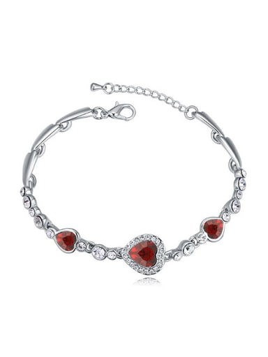 Simple Heart Cubic Swarovski Crystals Alloy Bracelet