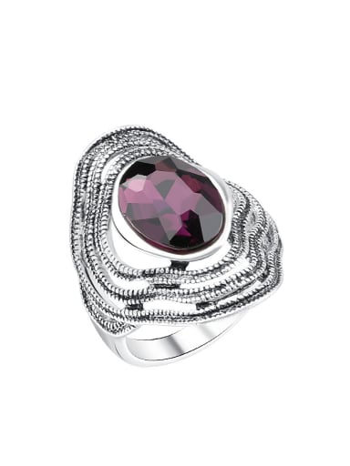 Retro style Oval Glass Silver Plated Ring