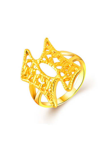 Fashion Hollow Geometric Shaped 24K Gold Plated Ring