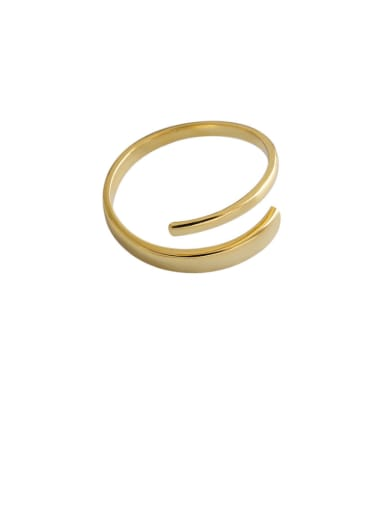 925 Sterling Silver With Gold Plated Simplistic Wrong Double Layer Free Size  Rings