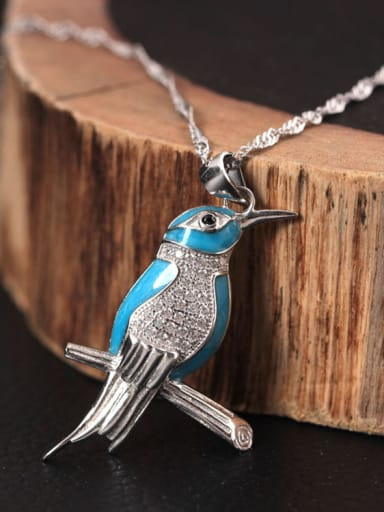 Lovely Kingfisher Enamel Necklace