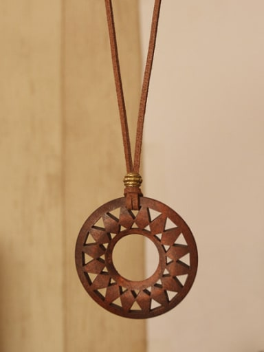 Retro folk style female cotton all-match pattern assembly simple wooden pendant long sweater chain necklace